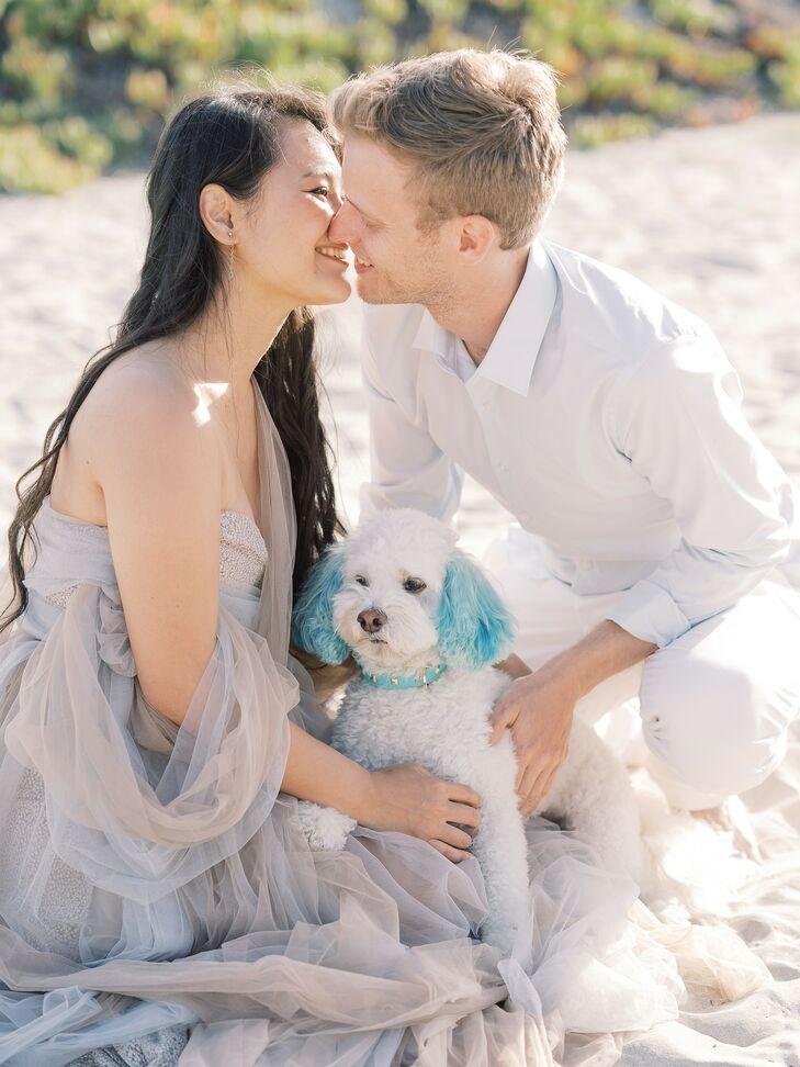 Couple Sharing Kiss at Beach Wedding in San Diego