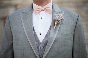 Rustic Succulent Boutonniere, Gray Suit