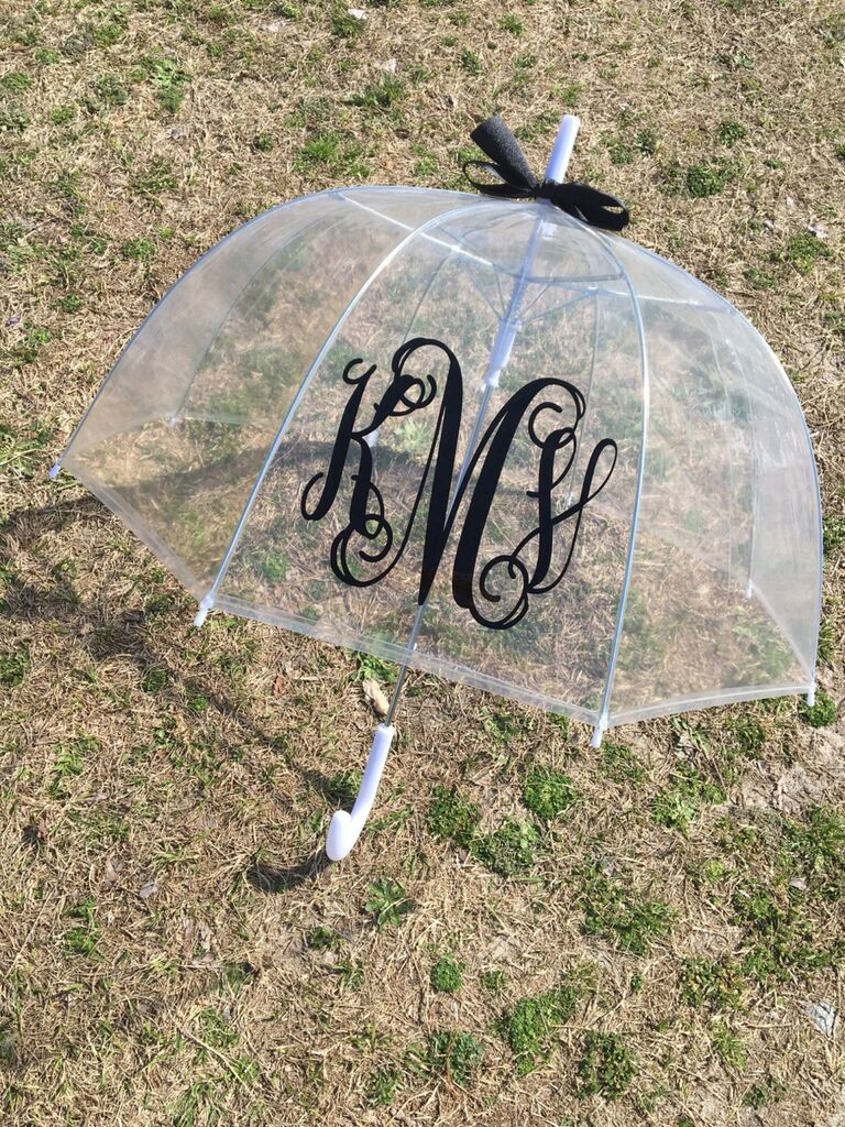 Clear monogram umbrella for the couple