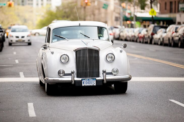 To play up classic feel of their wedding, Marielle arrived to the ceremony in a vintage 1958 Bentley.