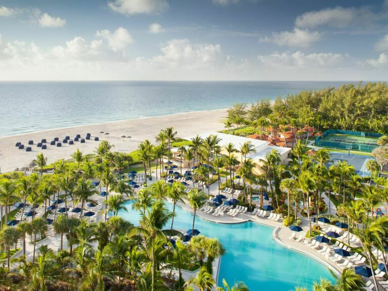 Aerial view of the beach and pool at Fort Lauderdale resort
