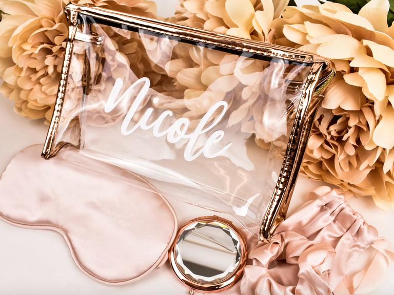 clear bridesmaid makeup bag