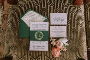 Preppy Invitation Suite with Green Envelope and Custom Crest