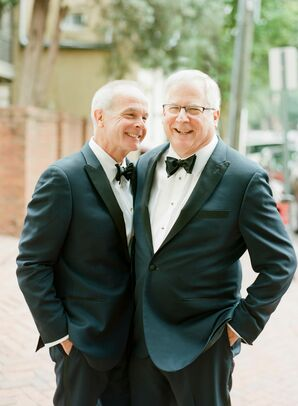 Matching Navy and Black Tuxedos