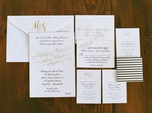 Black and Gold Invitations with Custom Monogram