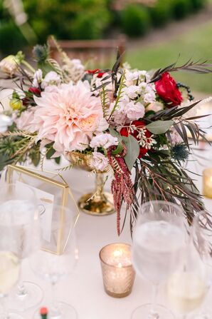 Centerpiece with Pink Dahlia, Astilbes, Roses and Greenery