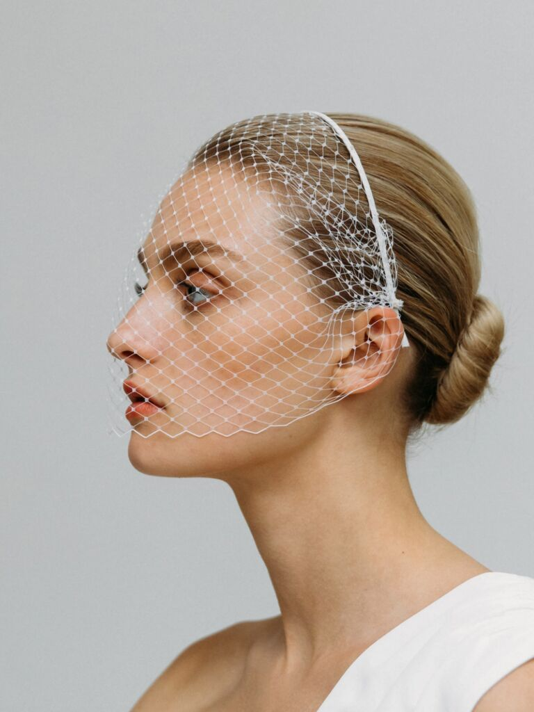 wedding hair pieces birdcage veil