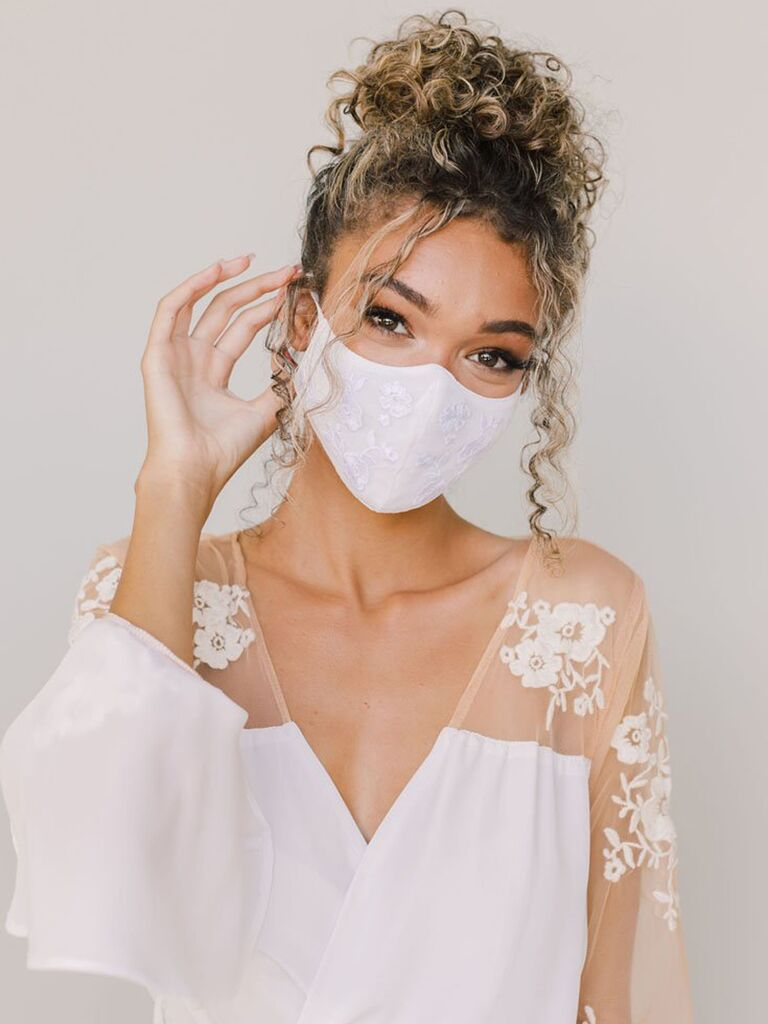Floral embroidered wedding face mask