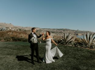 For their modern wedding in California with a black-and-white color palette, Jocelyn Lam and Orion Robinson threaded details from their heritage throu