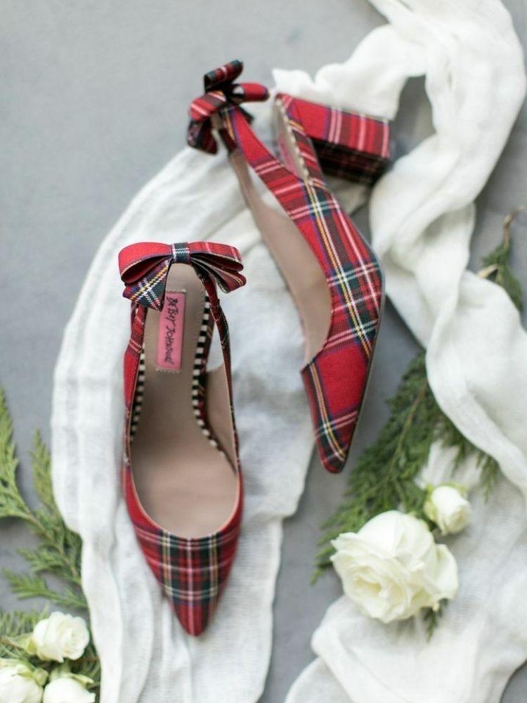 Red plaid wedding heels