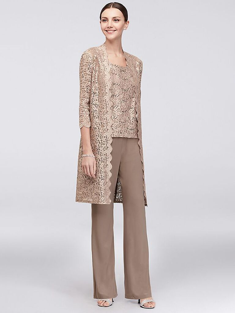 david's bridal champagne three piece mother of the bride pant suit