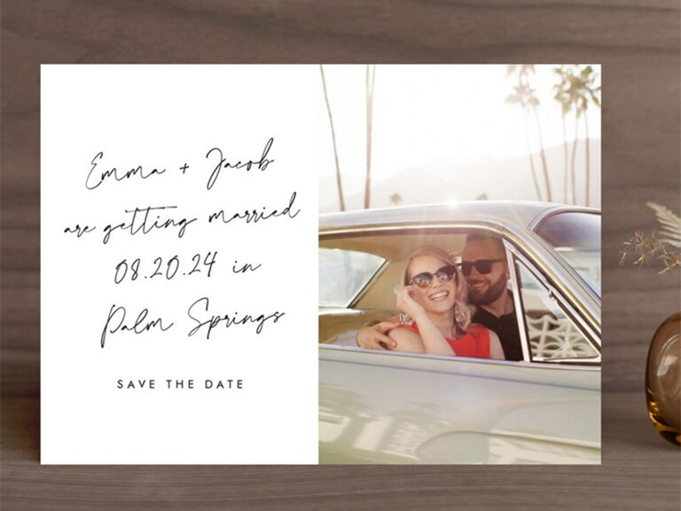 Personalized photo on right, couple's names and details in handwritten script on white background on left
