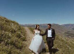 Although Sun Valley Resort is most popular during ski season, Sarah Vallimarescu and Ben Tsujiura took advantage of its natural summertime beauty for