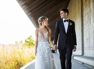 Lucie Fink and Michael Morris wed with 200 of their closest friends at Parrish Art Museum in Water Mill, New York. The wedding, which doubled as their