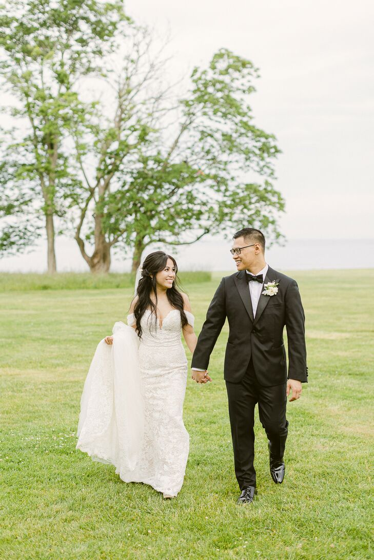 """Tram and Johnson chose to host their garden-inspired green-and-white wedding at Eolia Mansion in Waterford, Connecticut, because that's where they """"me"""
