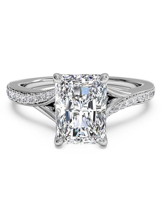 Ritani Modern Bypass Micropavé Diamond Band Engagement Ring - in 14kt White Gold - (0.19 CTW) for a Radiant Center Stone Engagement Ring photo