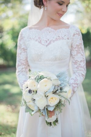Romantic Garden Rose and Anemone Bouquet