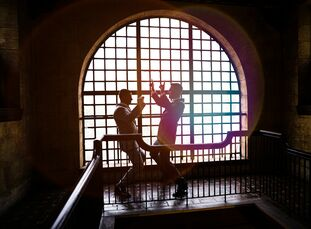 """Kyle and Jeremy wanted their wedding, which took place in front of a bank vault at The Treasury on The Plaza in St. Augustine, Florida, to be """"beautif"""