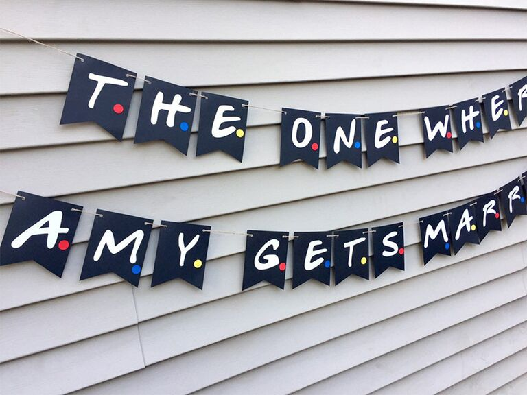 'The one where... gets married' banner in black with letters in white type and red, blue and yellow dots
