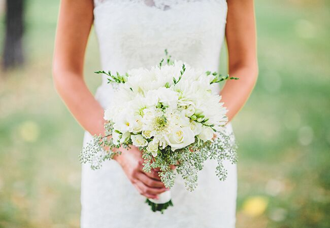 white bridal bouquet with eucalyptus |<img class=
