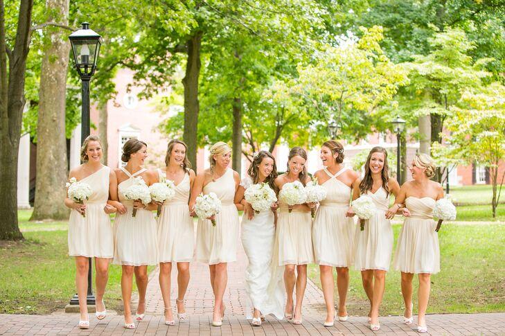 Ivory Wedding Dress and Bridesmaid Dresses
