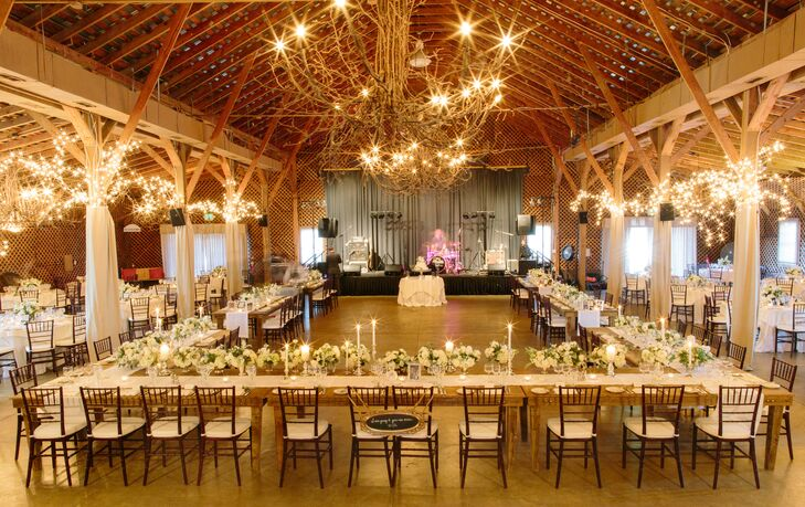 """""""Even though our reception was in a barn, we still wantedrnmore of a classic look rather than rustic,"""" says Casey."""