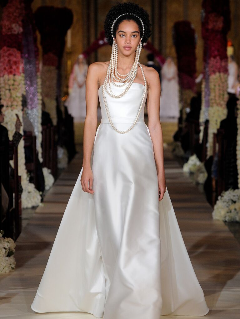 Reem Acra Spring 2020 Bridal Collection strapless A-line wedding dress