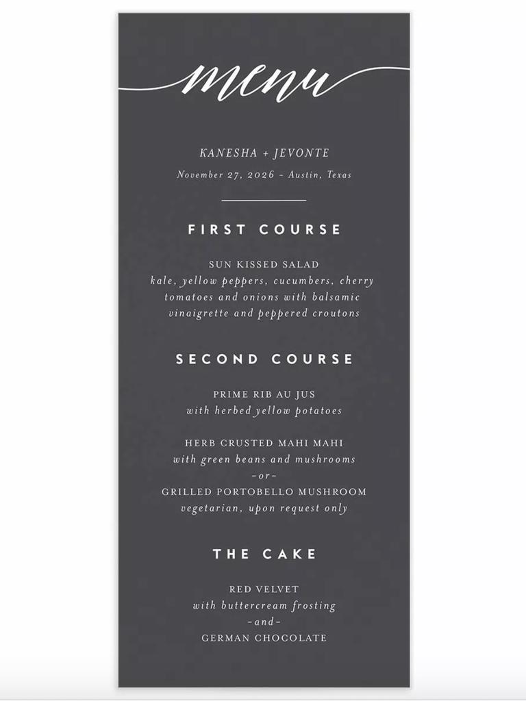 postwedding brunch menu