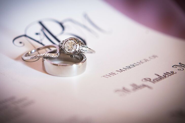 Molly's engagement ring is a vintage ring from the 1930s with an art-deco design.