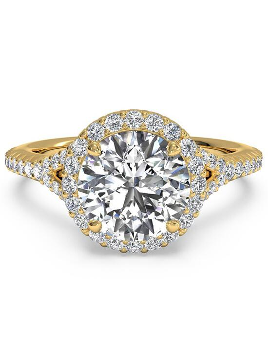 Ritani French-Set Halo Diamond 'V' Band Engagement Ring - in 18kt Yellow Gold (0.23 CTW) for a Round Center Stone Engagement Ring photo