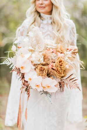 Bride Carrying A Blush-and-White Cascading Wedding Bouquet