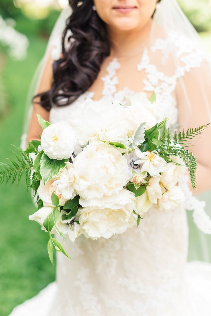 Tracy from Ella and Louie Floral Design crafted soft, full bouquets with ivory peonies and roses.