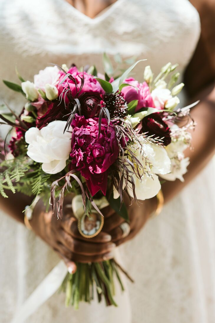 Casual White and Fuchsia Bouquet with Locket