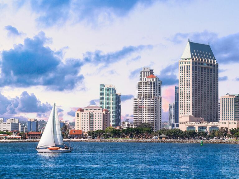 Sailing boat and San Diego skyscrapers
