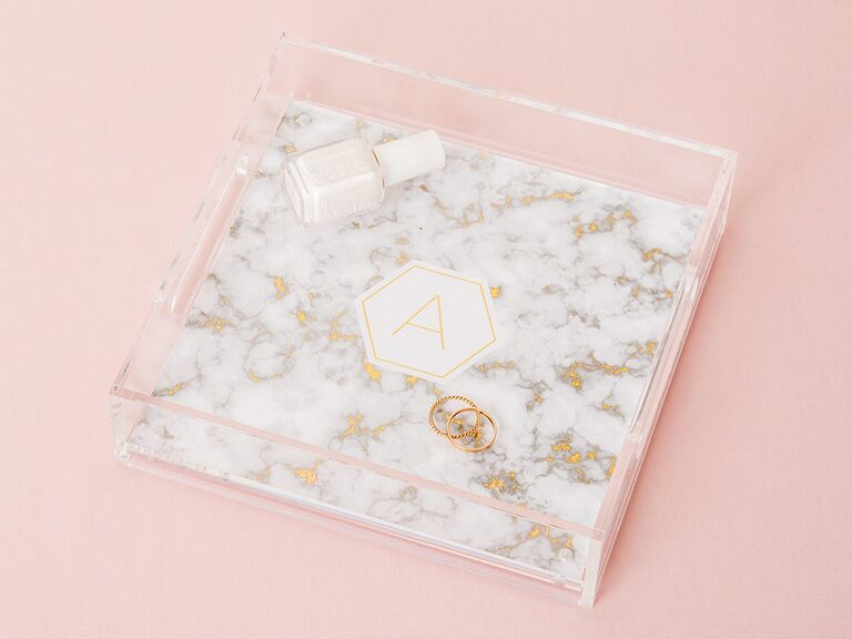 Marble style catchall tray bridesmaid gift