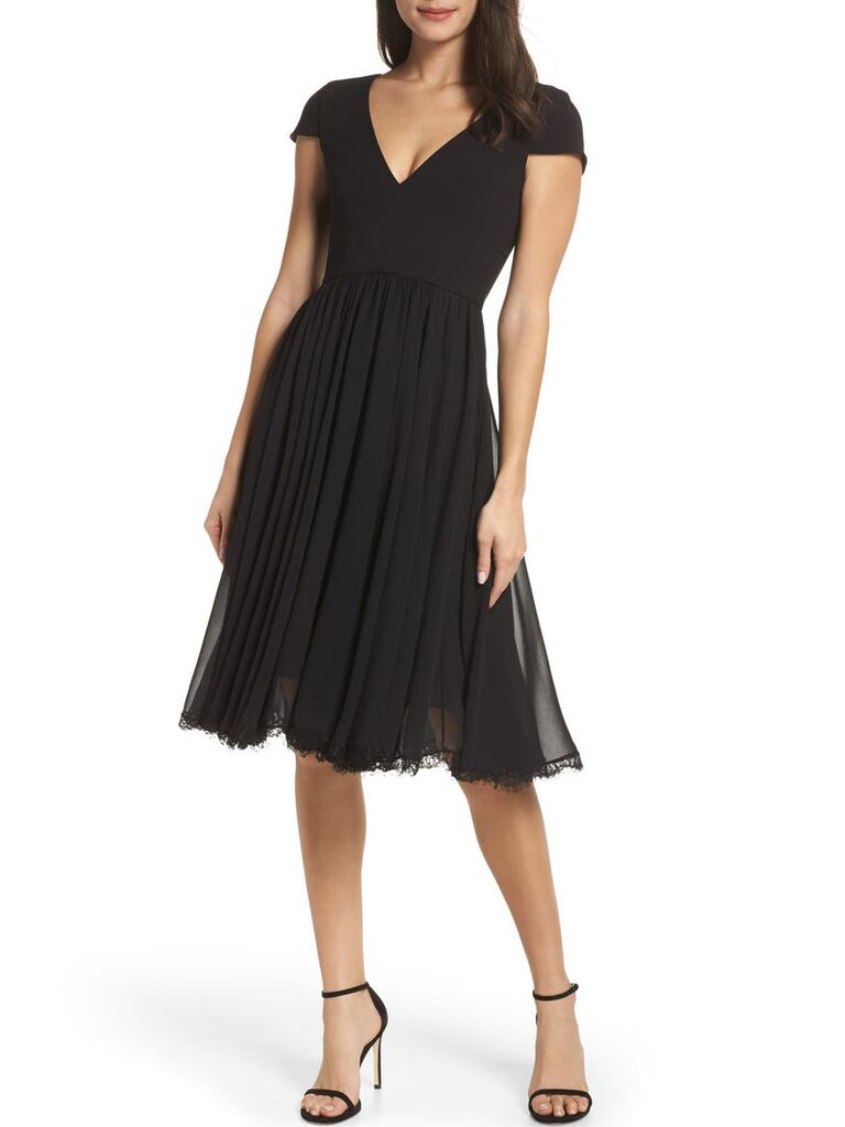 Black V-neck fit and flare cocktail fall wedding guest dress