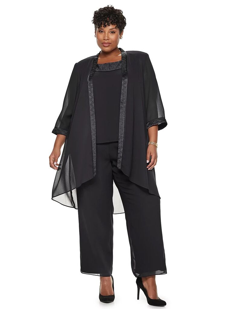 kohl's black three piece mother of the bride pant suit