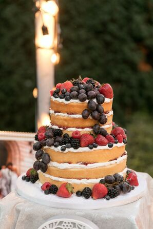 Naked Wedding Cake Decorated With Fresh Berries