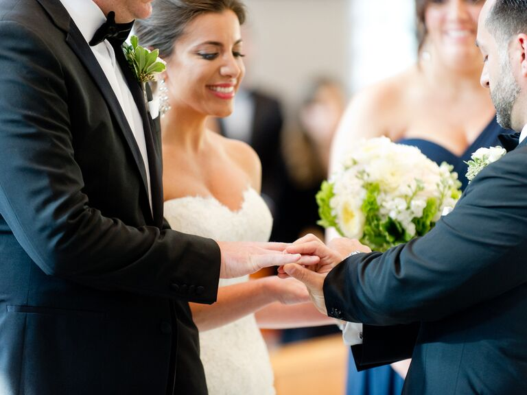 Ring exchange at a Greek wedding
