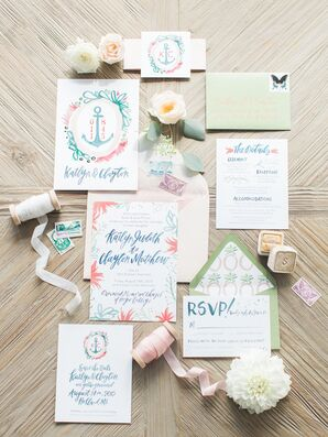 Watercolor Invitation Suite With Anchor Detail