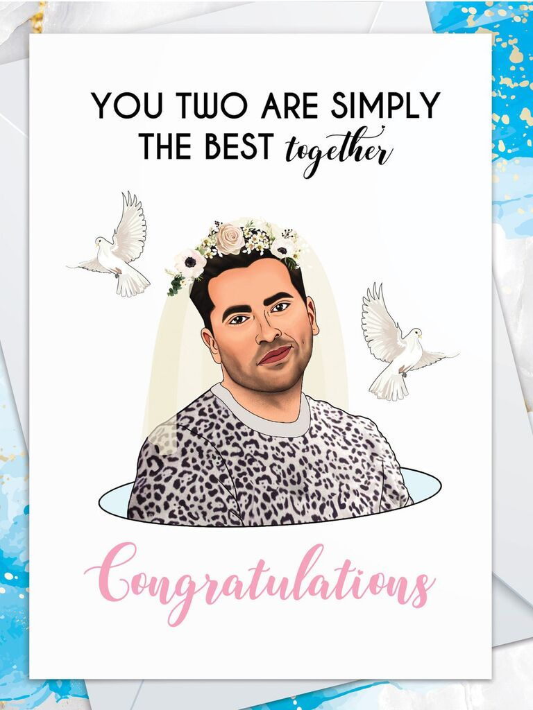 Black and pink type and graphic of David from Schitt's Creek wearing flower crown