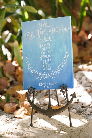 Whimsical Anchor Wedding Sign and Holder