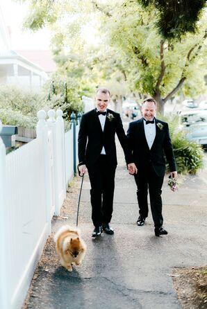 Same-Sex Grooms Walk Dog at Wedding in Australia