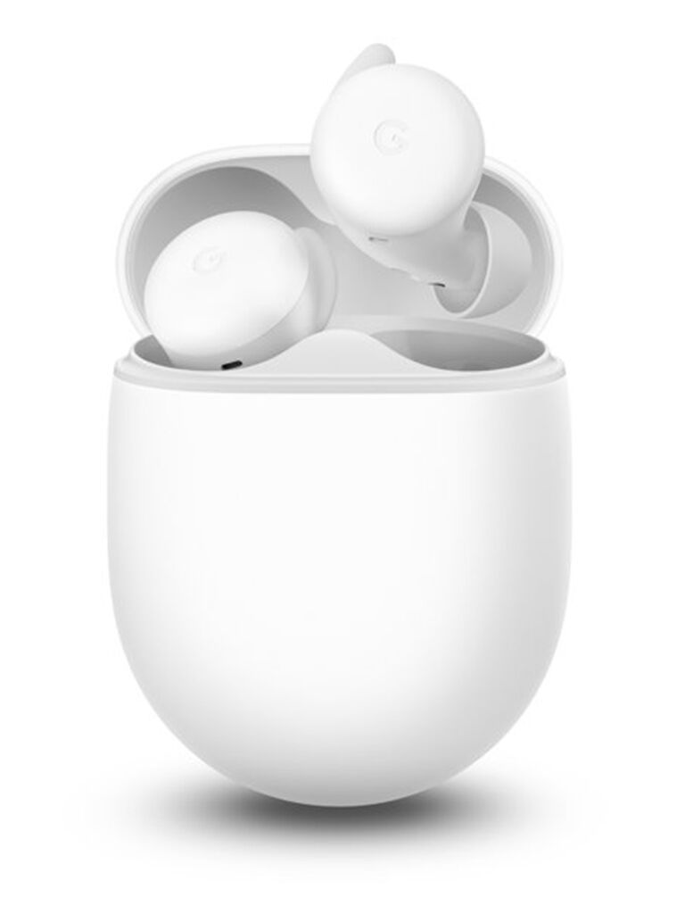 White Google Pixel wireless earbuds