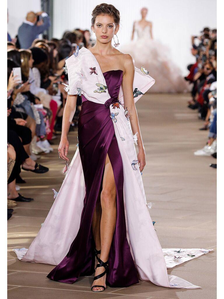 Purple Patterned A-Line Wedding Dress