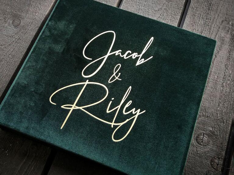 etsy green velvet wedding guest book idea with script front