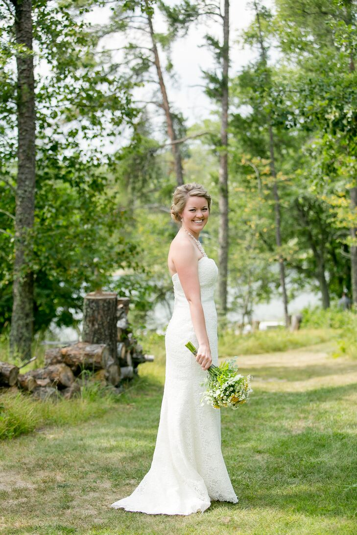 Bride in Ivory Sheath Dress and Braided Updo