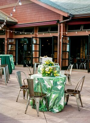 Cocktail Tables with Tolix Chairs and Banana Leaf Linens