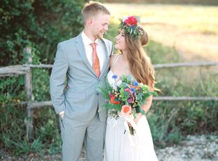 Students Bailey Denison (21) and John Wesley Hagler (22) looked to bold flowers for pops of color, as well as flower crowns and feathers to create the
