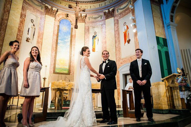 The couple exchanged vows in a traditional church ceremony, followed by a reception at the Worcester Regional Airport in Massachusetts.